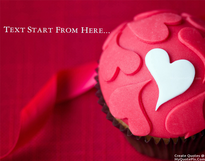 Design your own names of Heart Cup Cake
